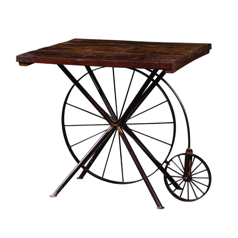 tavolino ferro legno ruote