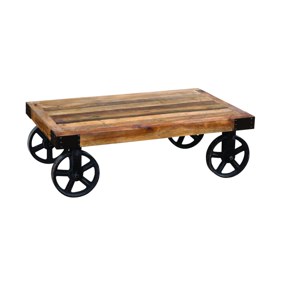 tavolino rotelle ruote ferro legnoq