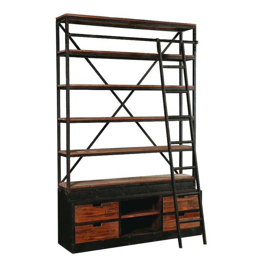 libreria ferro scala legno
