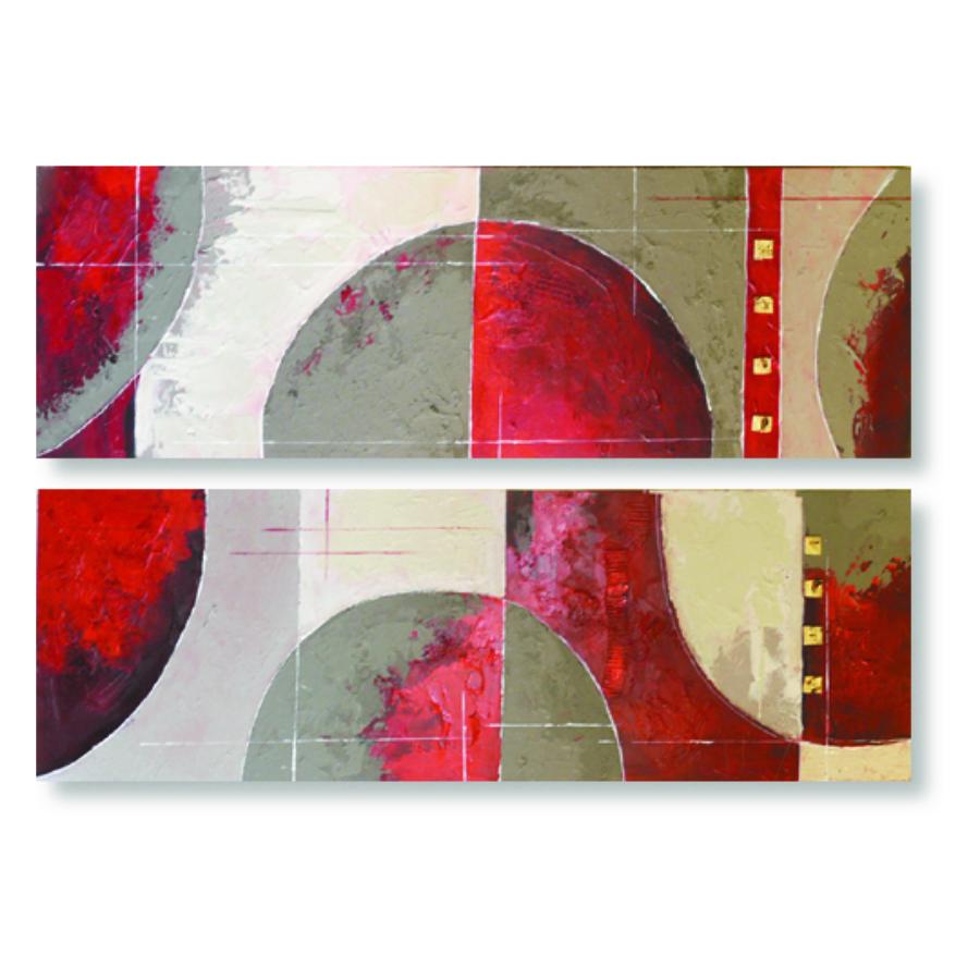 quadro pannelli astratti rosso e grigio