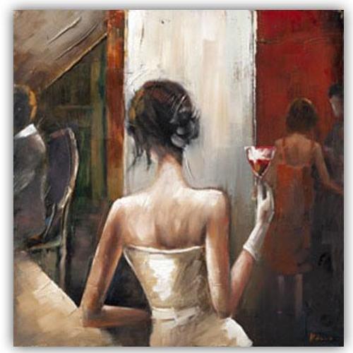 dipinto su tela donna con drink a