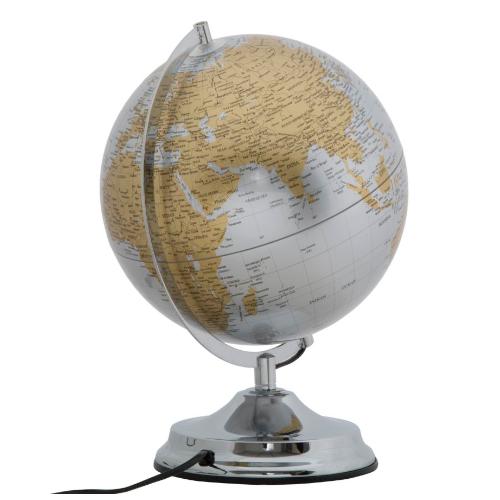 mappamondo argento lampada
