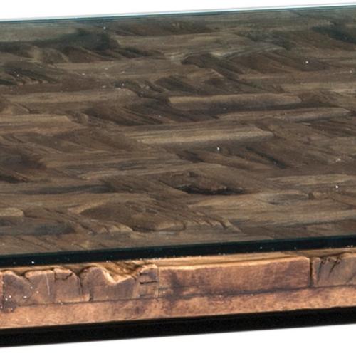dettaglio tavolo cross con cristallo