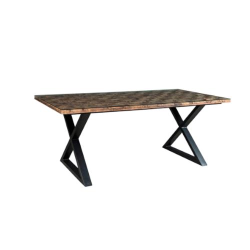 tavolo cross con piede in ferro