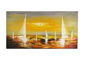 dipinto su tela barca a vela al tramonto