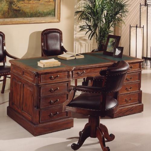 scrivania victoria pelle mogano