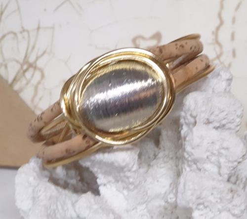 bracciale sughero alluminio dorato argento